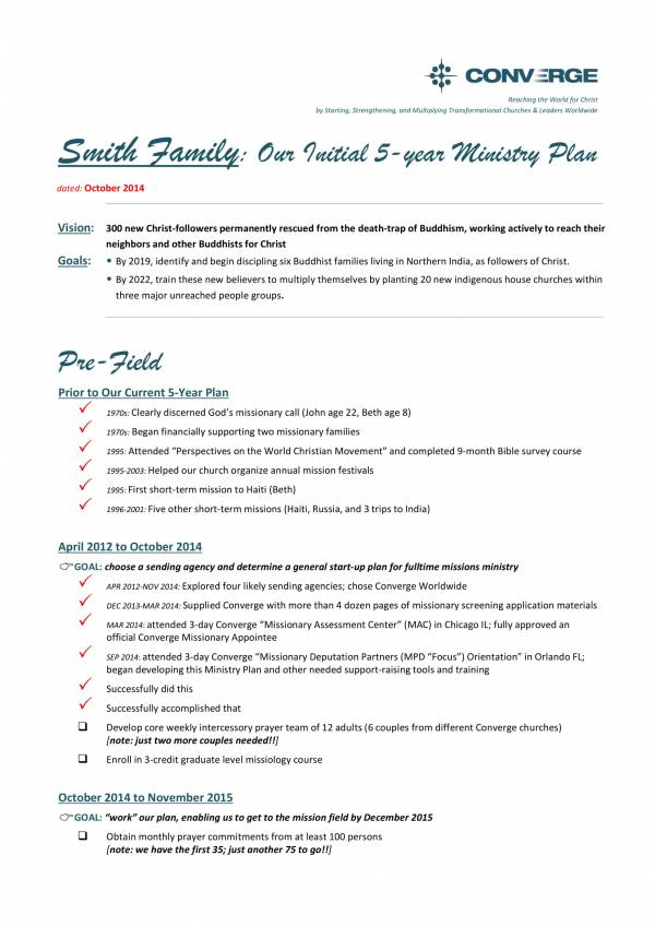 five year family ministry plan template 1