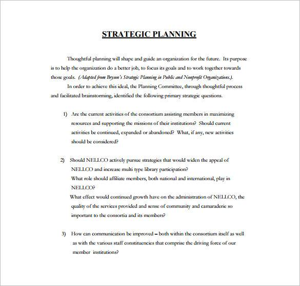 five year strategic plan template