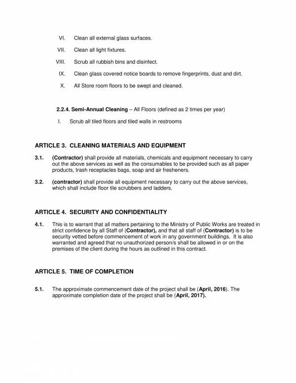 fixed cleaning services contract template 4