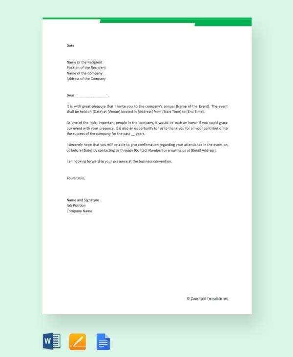 formal business invitation letter