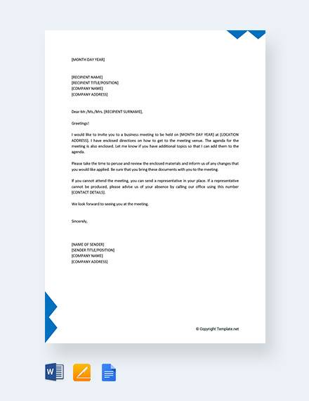 FREE 12+ Business Meeting Invitation Letter Templates in