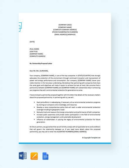 formal proposal letter for partnership