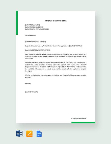 12+ Sample Affidavit of Support Letters - PDF