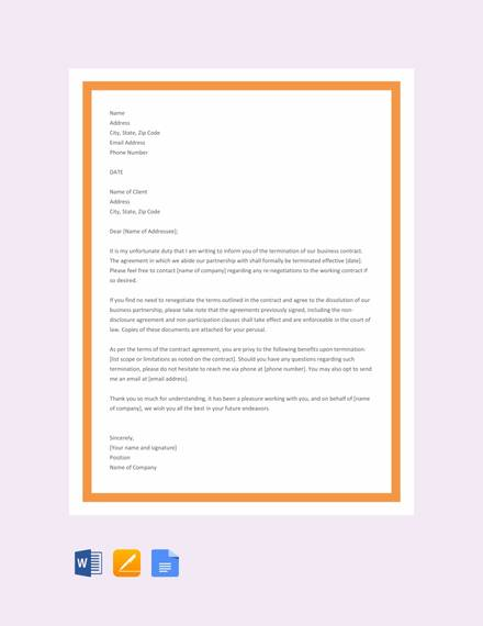 Sample Contract Termination Letter 10 Documents In Word