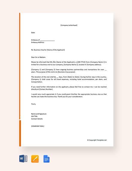 free business invitation letter for visa
