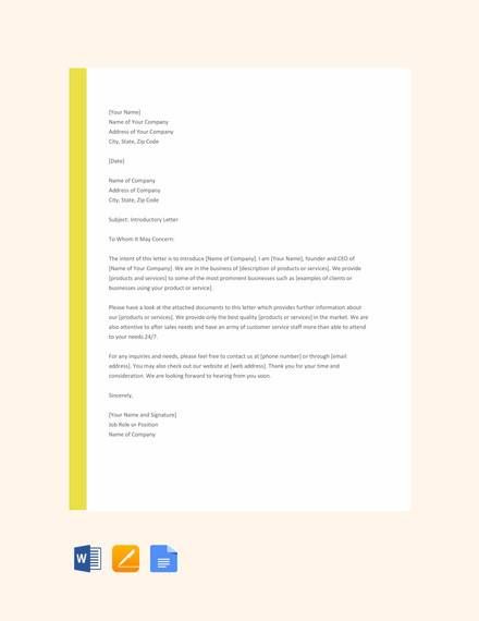 free company introduction letter format
