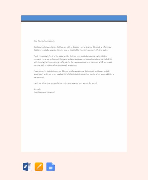 Free-Email-Resignation-Letter-Template Mac Resignation Letter Template on free printable company, 2 week notice, for school aide,