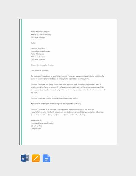 free 15  sample experience letter templates in pdf