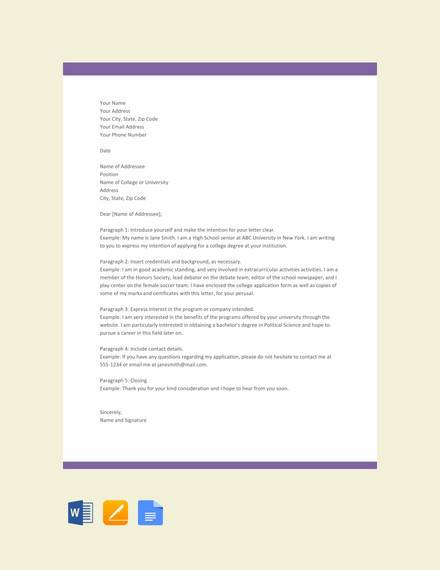 free letter of intent format