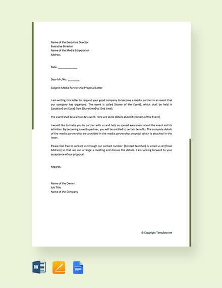 free media partnership proposal letter