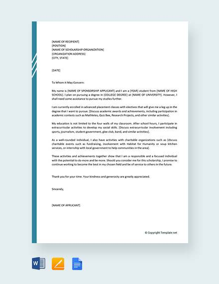 free motivation letter for a scholarship