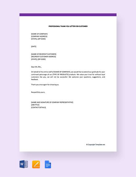 free professional thank you letter for customer template