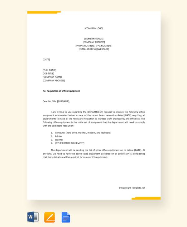29  requisition letter formats