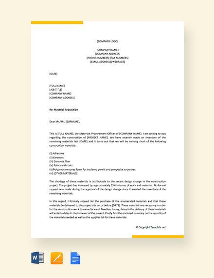 free requisition letter