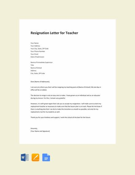 Free 10 Teacher Resignation Letter Templates In Ms Word Apple Pages Google Docs Pdf