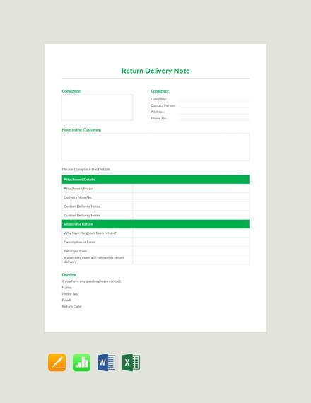 free return delivery note template1