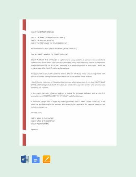 free school recommendation letter template