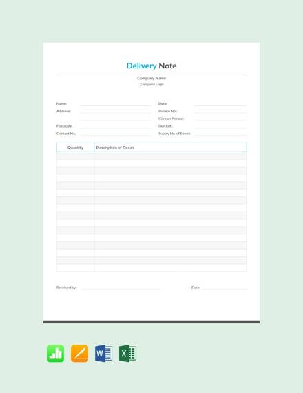 free simple delivery note template