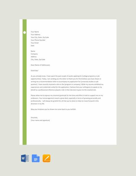 free thank you letter for recommendation template