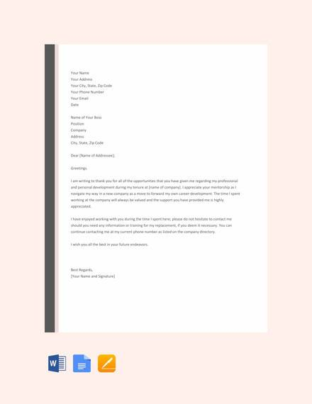free thank you letter to boss after resignation