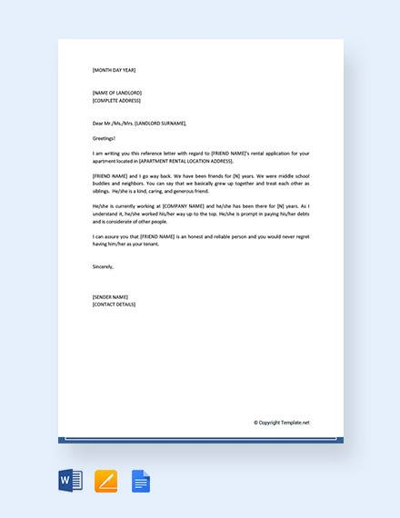 friend reference letter for apartment