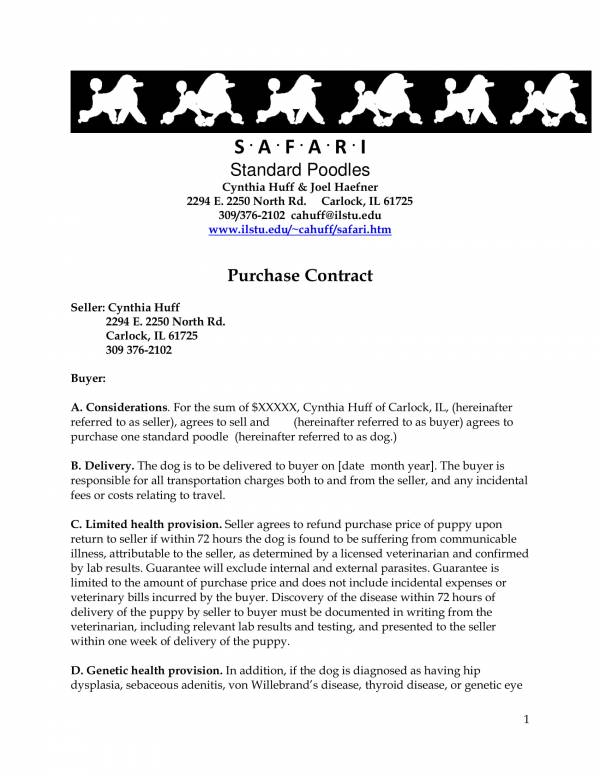generic pet contract template 1