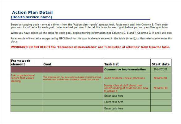 health service action plan template