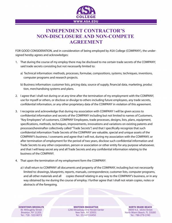 independent contractors non compete agreement template 1