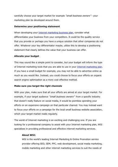 online advertising business plan