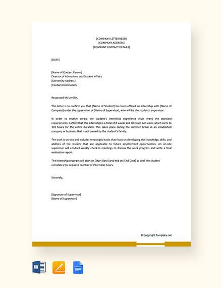 internship acceptance letter from company to university