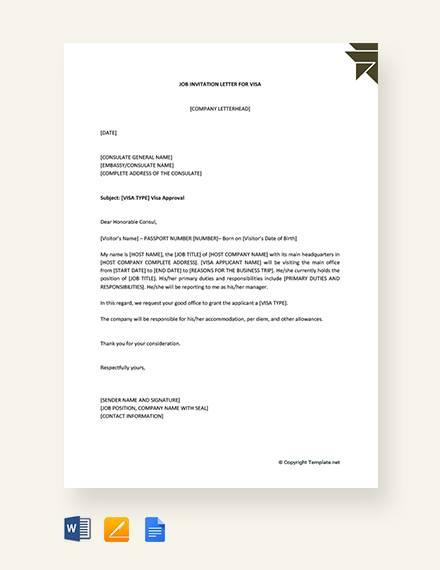 Job-Invitation-Letter-for-Visa Visa Invitation Letter Template For Pdf on template for program at a glance, template for baby shower invitations, template for cancellation letter,