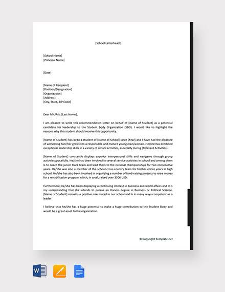free 8  sample leadership recommendation letter templates