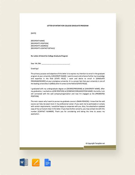 Sample College Letter Of Intent In Pdf