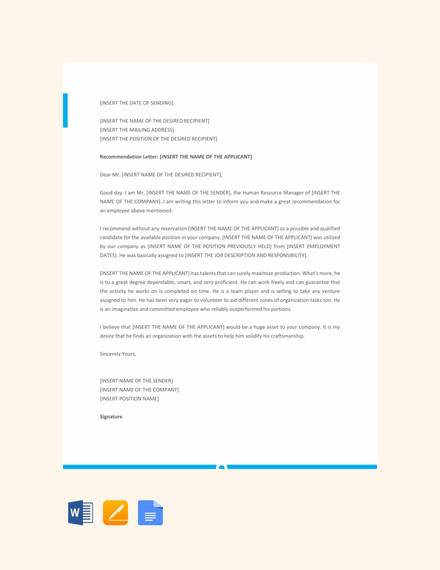 letter template of recommendation for employee