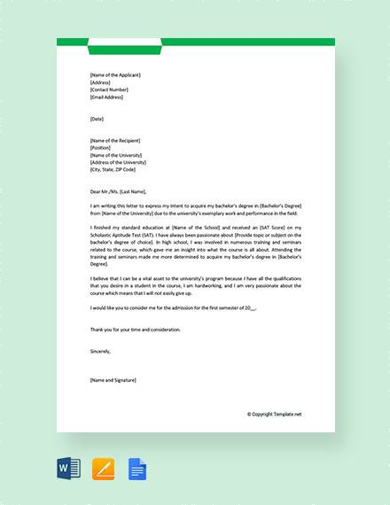 letter of intent for university application
