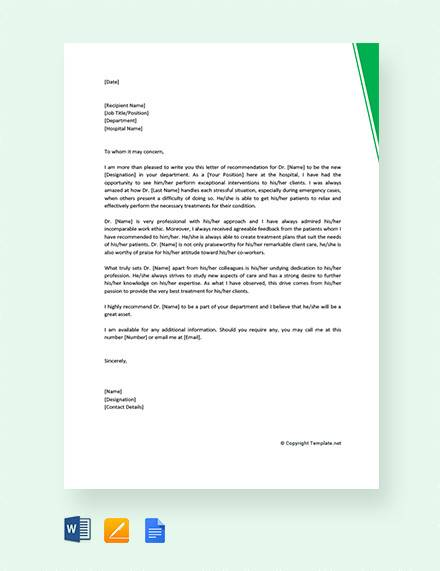 free 8  sample physician recommendation letter templates