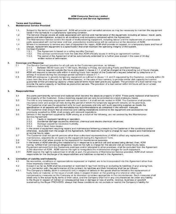 maintenance service agreement template