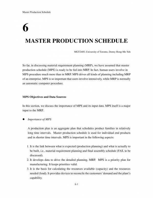 master production plan schedule 01