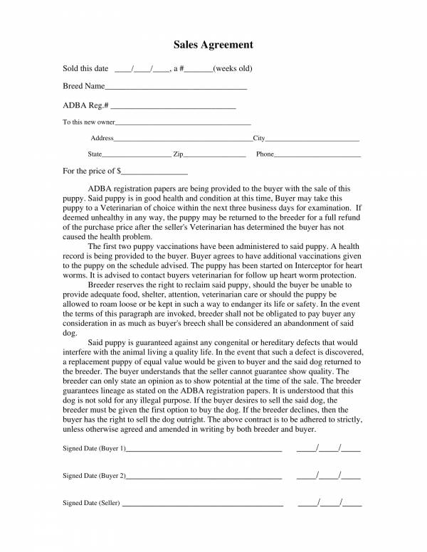 one page puppy sales agreement contract template 1