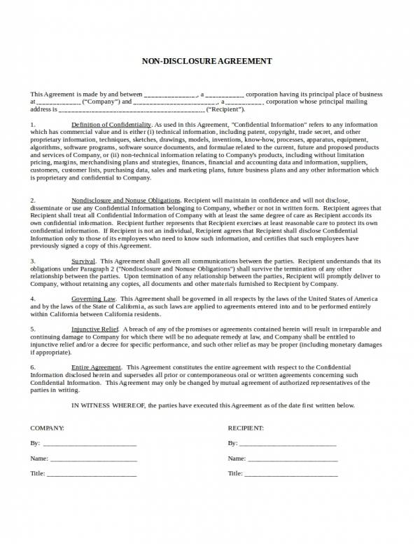 Free 26 Non Disclosure Agreement Templates In Pdf Word