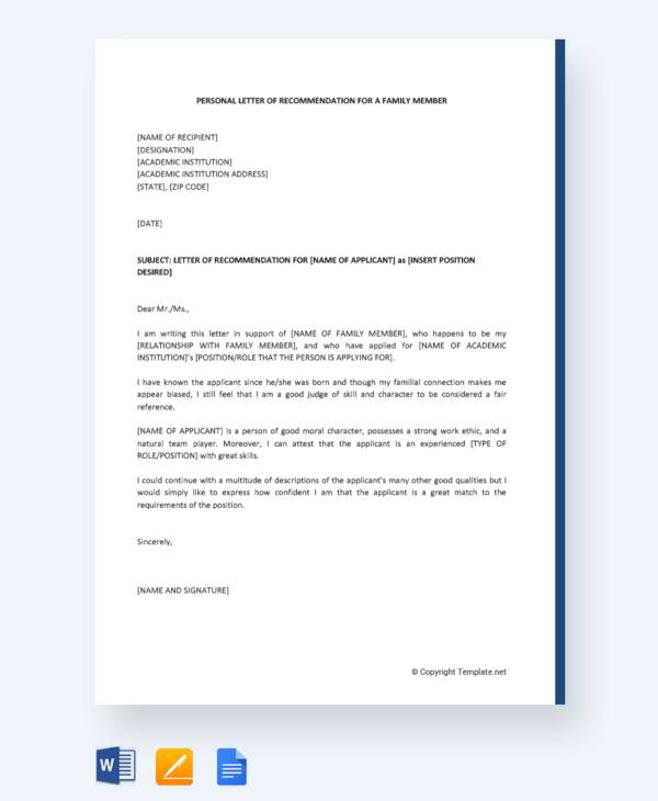 25 sample personal letters of recommendation pdf doc