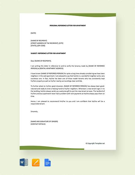 personal reference letter for apartment