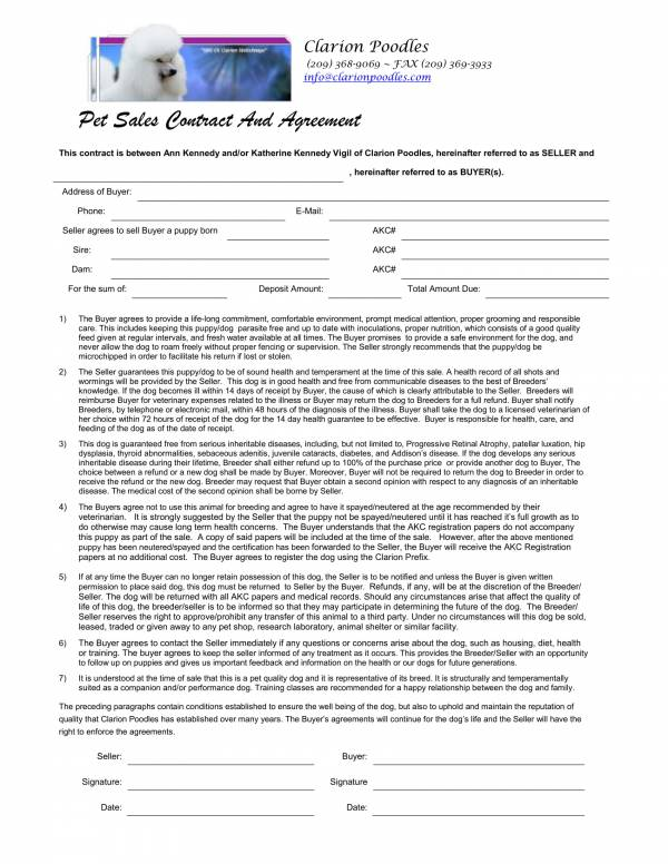 pet sales contract and agreement template 1