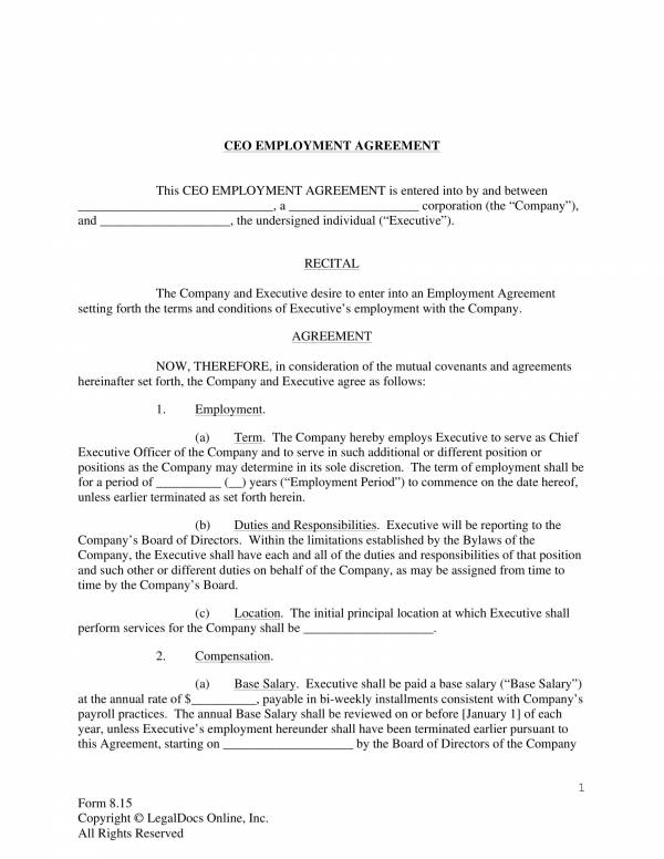 printable ceo employment agreement pro employer 3
