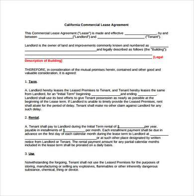 printable commercial office lease agreement