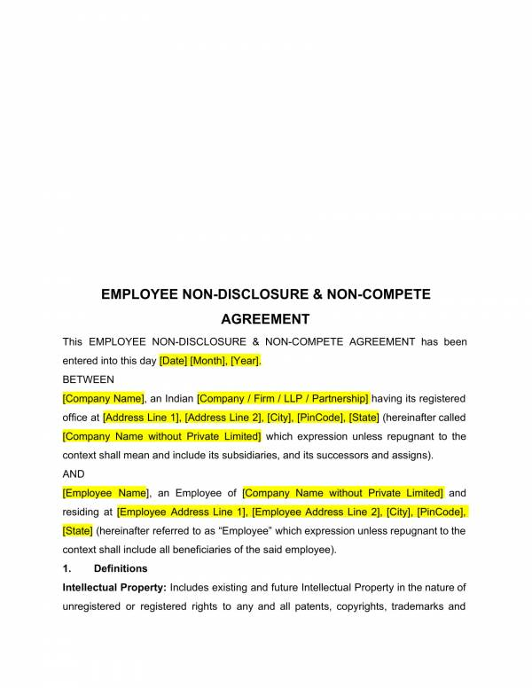 printable employee non disclosure and non compete agreement 1