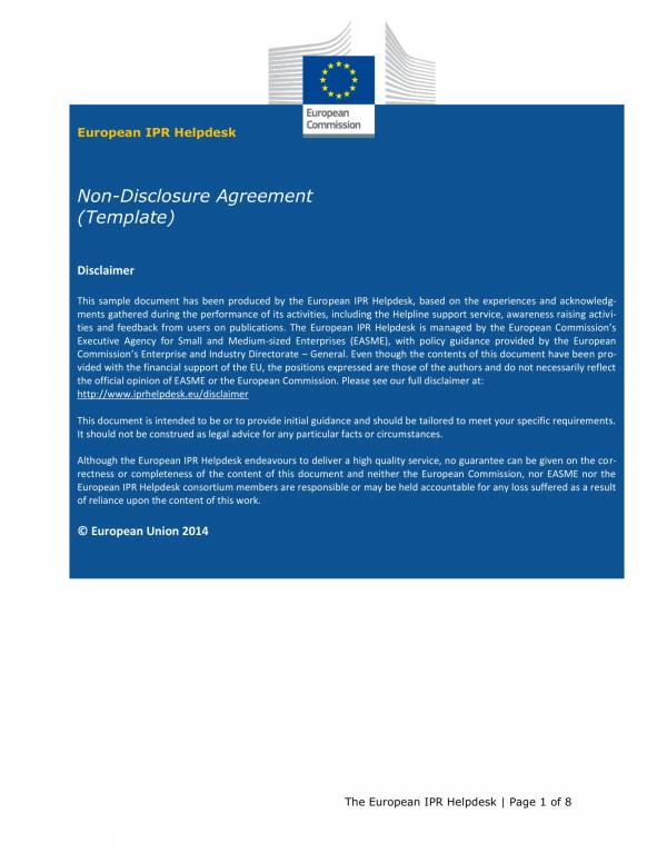 printable non disclosure agreement template 1