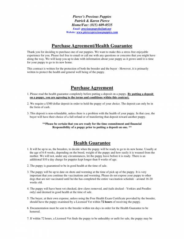 puppy purchase agreement health guarantee 1