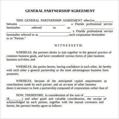 real estate general partnership agreement