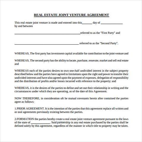 real estate joint venture partnership agreement template